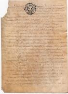 Véritable Parchemin Manuscrit Partie D'Acte Notarié Notaire 17ème 1689 Cachet Généralité D'Orléans Treize Sols 4 Pages - Manuscripts