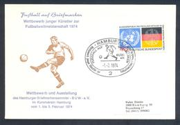 Germany 1974 Cover: Football Fussball Soccer Calcio: FIFA World Cup; Hamburg Cancellation - Fußball-Weltmeisterschaft