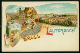 Lauterbach Ritter Wappen Nacktes Weinendes Kind Strumpf Litho August BRUNING Hanau Vogelsbergkreis - Lauterbach
