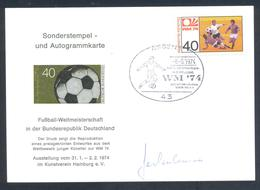 Germany 1974 Card: Football Fussball Soccer Calcio: FIFA World Cup; Essen Cancellation; Weltmeister Autographed - Fußball-Weltmeisterschaft