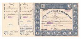 WW1  Carte Individuelle D'alimentation Commune De BRIZAY 1918  Ttttb état - Documents Historiques