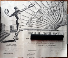 BREVET De L'ESPOIR FRANCAIS 1936 - F.F.A. FEDERAT.Fses D'ATHLETISME - Athlète Nu De Dos Dessiné Par FRAISSE DEMEY -Sport - Diplomas Y Calificaciones Escolares