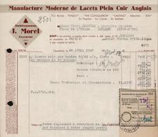 FACTURE ETS J. MOREL - MANUFACTURE DE LACETS - CEYZERIAT - AIN - AUCOURT - SAULIEU - 28 AVRIL 1947 - 1900 – 1949
