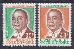 Elfenbeinküste Ivory Coast Cote D'Ivoire 1974 Geschichte Persönlichkeiten Präsident Houphouet-Boigny, Mi. 455-6 ** - Costa D'Avorio (1960-...)