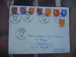 Affranchissement  8 Timbre Blason Armoiries Tous Differents Sur Lettre Riquewihr - Postmark Collection (Covers)