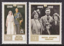PAIRE NEUVE D'ANTARCTIQUE BRITANNIQUE - 90E ANNIVERSAIRE DE SA MAJESTE LA REINE-MERE ELIZABETH N° Y&T 191/192 - Familles Royales