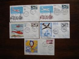 FRANCE Premiers Jours Poste Aérienne Alouette, Caravelle, Bastié Et MS 760 Cote 370 - FDC