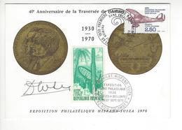 DIEUDONNE COSTES AUTOGRAPHE ORIGINAL AUTOGRAPH BOIS COLOMBES 1970 HISPANO SUIZA AVIATION - Autographs