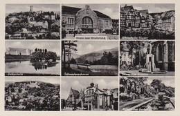 AK Gruss Aus Bielefeld - Mehrbildkarte - Hauptbahnhof Sparrenburg Schwedenschanze Oetkerhalle Etc. - 1951 (40543) - Bielefeld