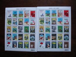 BELGIQUE Lot De 2 Feuilles  THEMES  Albums Tintin - Belgique