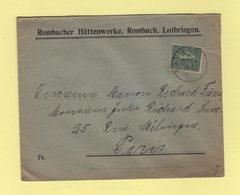 Alsace Lorraine - Rombas - Rombach - 1919 - Marcophilie (Lettres)