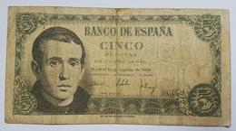 BILLET ESPAGNE - REGENCE DE FRANCO - P.140 - 16/08/51 -  JAIME BALMES - 5 PESETAS - [ 3] 1936-1975 : Régence De Franco