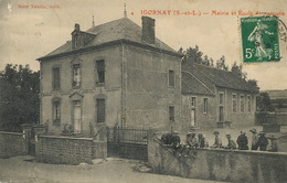 Igornay Mairie Et Ecole De Garçons  Edit Mme Naudin  Envoi à Piffaut Champlemy Nièvre Leger Pli Vertical - Andere Gemeenten