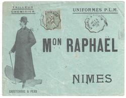 ANNONAY à FIRMINY Lettre Entête UNIFORMES PLM Raphaël Tailleur Melon Redingote 5c Semeuse Lignée Yv 130 Convoyeur 1906 - France