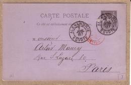 EGYPTE - CARTE ENTIER POSTAL 10 C SAGE , ALEXANDRIE POUR PARIS - 1887 - Égypte