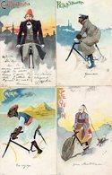 Rosseti-6 Cpa Illustrées-Vélo-Villes Différentes-Pékin-Caire-Etc... - Ciclismo