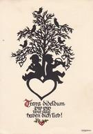 AK Kinder Unter Baum Mit Vögeln Und Musikinstrumenten - Herz - Trara... - Scherenschnitt - 1954 (40557) - Scherenschnitt - Silhouette