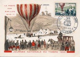 JOURNEE DU TIMBRE 1955 - BEAUNE - LA POSTE PAR BALLON - - Cartes-Maximum