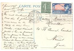 PARIS XVII Carte Postale 15c Semeuse Lignée Yv130 Ob 2 2 1917 Etiquette JUSQU'AU BOUT Edit Chazelle Guerre 1914 - Erinnophilie