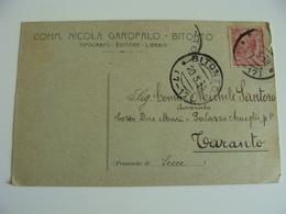 1918  COMM.  GAROFALO  BITONTO  BARI  TIPOGRAFO  MESTIERE    VIAGGIATA    FORMATO  PICCOLO - Craft