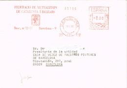32374. Carta BARCELONA 1989. Franqueo Mecanico Federació Mutualitats Catalunya I Balears - 1931-Hoy: 2ª República - ... Juan Carlos I