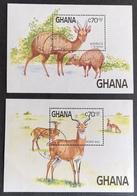 Ghana 1984 Endangered Species S/S Pair USED - Ghana (1957-...)