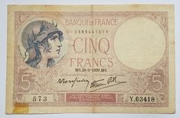 BILLET FRANCE - P.83 - 5 FRANCS VIOLET- 28/09/1939 - 1871-1952 Antiguos Francos Circulantes En El XX Siglo