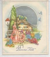 """Bonne Fête. Jeune Femme Dans Un Jardin Fleuri. Oiseaux Bleus:"""" Que Vos Souhaits Se Réalisent..."""" - A Systèmes"""