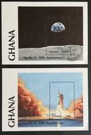 Ghana  1989 1st.Moon  Landing 20th .Anniv. S/S Pair USED - Ghana (1957-...)