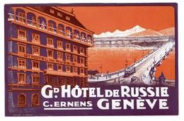 Etiquette D'Hôtel Suisse - GENEVE -Gd Hôtel De Russie - C. Ernens LUGGAGE LABEL - Voir Scan - Etiquettes D'hotels