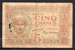 329-Madagascar Billet De 5 Francs 1937 E1176 - Madagascar