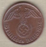 2 Reichspfennig 1938 J (HAMBOURG) Bronze - [ 4] 1933-1945 : Third Reich