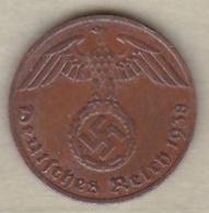 1 Reichspfennig 1938 F (STUTGART)  Bronze - [ 4] 1933-1945 : Third Reich