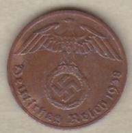 1 Reichspfennig 1938 F (STUTGART)   Bronze - [ 4] 1933-1945 : Tercer Reich