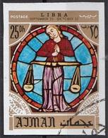 775 Ajman 1971 Segni Zodiaco Bilancia Libra - Stainled Glass Window Vetrata Notre Dame Imperf. Zodiac - Vidrios Y Vitrales