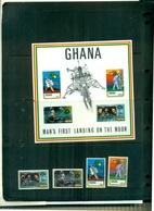 GHANA L'HOMME SUR LA LUNE 4 VAL + BF NEUFS A PARTIR DE 1.50 EUROS - Ghana (1957-...)