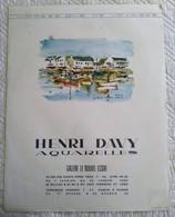 AFFICHE ANCIENNE ORIGINALE EXPOSITION HENRI DAVY AQUARELLE 1964 Illustration La Trinité Sur Mer - Affiches