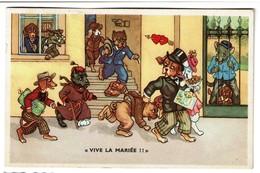 Chiens Humanisés - Carte Illustrée Vive La Mariée !! 1954 - Edit. Coloprint 53800/2 - 2 Scans - Chiens