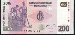 CONGO P99a 200 FRANCS 31.7.2007  #NA/D      UNC. - Zonder Classificatie
