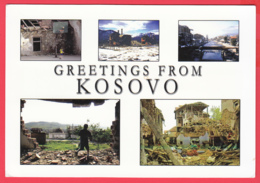 CPM*34* Grettings From KOSOVO - Multivues - Ruines Et Destructions *INÉDITE* SUP *2 SCANS - Kosovo