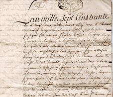 Acte Manuscrit 1730 Château De Virazeil (Lot-et-Garonne) DAUGEARD BELRIEU BERBINEAU - Manuscripten