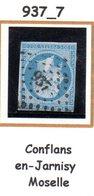 France : Petit Chiffre N°937 : Conflans En Jarnisy ( Moselle ) Indice 7 - Marcofilie (losse Zegels)