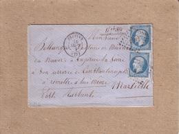 LETTRE DE PROVINS POUR MARSEILLE , POSTE RESTANTE , CAD TYPE 15 , EMPIRE 20 C - 1859 - Marcofilie (Brieven)