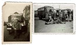 2 Petites Photos C1935 - Camions - Personnel De La Brasserie Chevalier Marin - 2 Scans - Automobiles