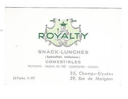 Royalty - Comestibles - Paris - Visiting Cards