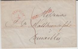 BELGIUM USED COVER 2 JANVIER 1846 STAVELOT BRUXELLES APRES LE DEPART - 1830-1849 (Belgique Indépendante)