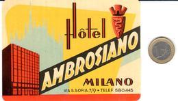 ETIQUETA DE HOTEL   - HOTEL AMBROSIANO -MILANO  -ITALIA - Hotel Labels