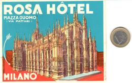 ETIQUETA DE HOTEL   - ROSA HOTEL -MILANO  -ITALIA - Hotel Labels