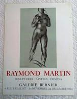 AFFICHE ANCIENNE ORIGINALE LITHOGRAHIQUE Raymond MARTIN Galerie Bernier 1964 MOURLOT IMPRIMEUR - NU FEMME - Plakate
