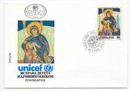 YUGOSLAVIA, FDC, 14.03.1992, COMMEMORATIVE ISSUE: UNICEF, BREASTFEEDING BABIES - 1992-2003 République Fédérale De Yougoslavie